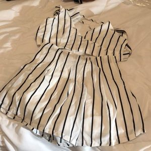 White striped two piece outfit never worn
